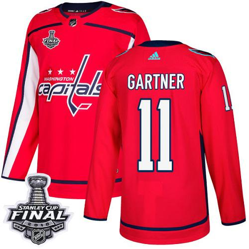 Adidas Capitals #11 Mike Gartner Red Home Authentic Stanley Cup Final Champions Stitched NHL Jersey
