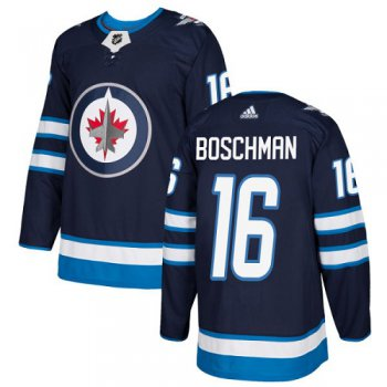 Adidas Jets #16 Laurie Boschman Navy Blue Home Authentic Stitched NHL Jersey