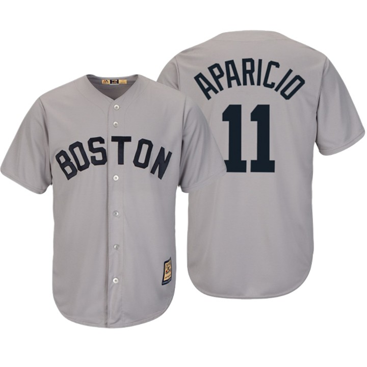 Boston Red Sox #11 Luis Aparicio Majestic Cooperstown Collection Cool Base Player Jersey Gray