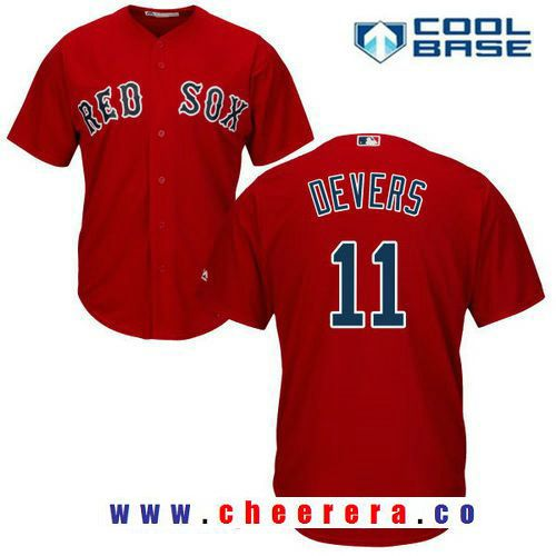 Boston Red Sox #11 Rafael Devers Majestic Alternate Official Cool Base Player Jersey Scarlet