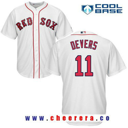 Boston Red Sox #11 Rafael Devers Majestic Home Official Cool Base Player Jersey White