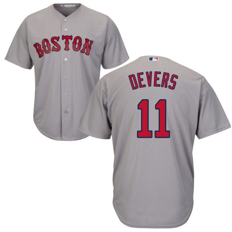 Boston Red Sox #11 Rafael Devers Majestic Road Official Cool Base Player Jersey Gray