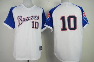 Braves #10 Chipper Jones White 1974 Throwback Stitched MLB Jersey