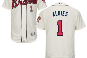 Braves #1 Ozzie Albies Cream Flexbase Authentic Collection Stitched MLB Jersey