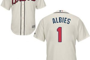 Braves #1 Ozzie Albies Cream New Cool Base Stitched MLB Jersey