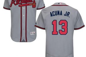 Braves #13 Ronald Acuna Jr. Grey Flexbase Authentic Collection Stitched MLB Jersey