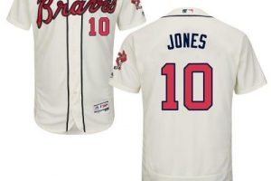 Braves #10 Chipper Jones Cream Flexbase Authentic Collection Stitched MLB Jersey
