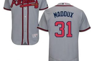 Braves #31 Greg Maddux Grey Flexbase Authentic Collection Stitched MLB Jersey