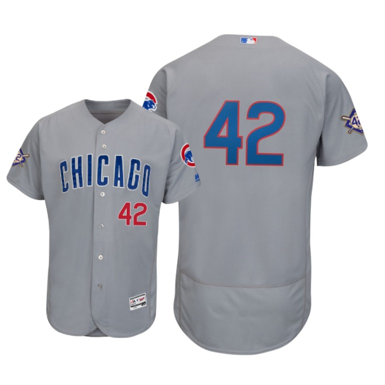 Chicago Cubs #42 Majestic 2019 Jackie Robinson Day Flex Base Jersey Gray