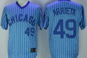 Cubs #49 Jake Arrieta Blue(White Strip) Cooperstown Throwback Stitched MLB Jersey