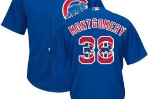 Cubs #38 Mike Montgomery Blue Team Logo Fashion Stitched MLB Jersey