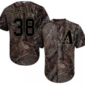 Diamondbacks #38 Curt Schilling Camo Realtree Collection Cool Base Stitched MLB Jersey