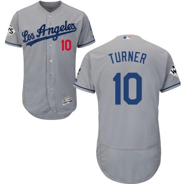 Dodgers #10 Justin Turner Grey Flexbase Authentic Collection 2018 World Series Stitched MLB Jersey