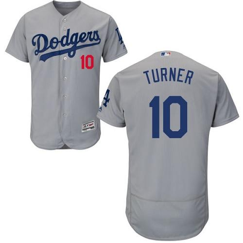 Dodgers #10 Justin Turner Grey Flexbase Authentic Collection Stitched MLB Jersey