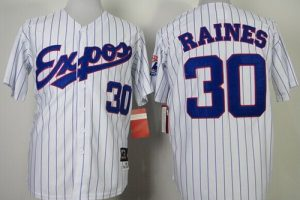 Mitchell and Ness 1982 Expos #30 Tim Raines White Blue Strip Stitched Throwback MLB Jersey