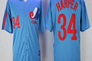 Mitchell And Ness Expos #34 Bryce Harper Blue Throwback Stitched MLB Jersey