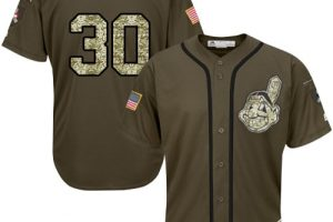 Indians #30 Tyler Naquin Green Salute to Service Stitched MLB Jersey