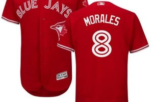 Blue Jays #8 Kendrys Morales Red Flexbase Authentic Collection Canada Day Stitched MLB Jersey