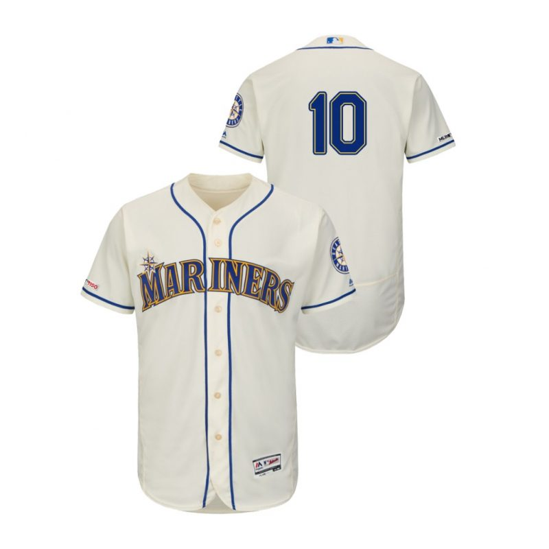 Mariners #10 Edwin Encarnacion Cream Flexbase Authentic Collection Stitched MLB Jersey