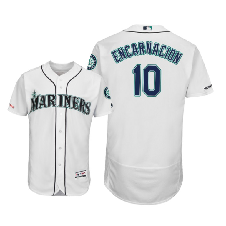 Mariners #10 Edwin Encarnacion White Flexbase Authentic Collection Stitched MLB Jersey