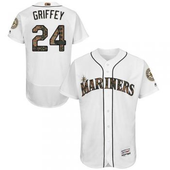 Mariners #24 Ken Griffey White Flexbase Authentic Collection Memorial Day Stitched MLB Jersey