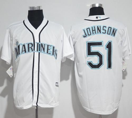 Mariners #51 Randy Johnson White Flexbase Authentic Collection Memorial Day Stitched MLB Jersey