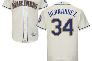 Mariners #34 Felix Hernandez Cream Flexbase Authentic Collection Stitched MLB Jersey