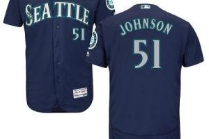Mariners #51 Randy Johnson Navy Blue Flexbase Authentic Collection Stitched MLB Jersey