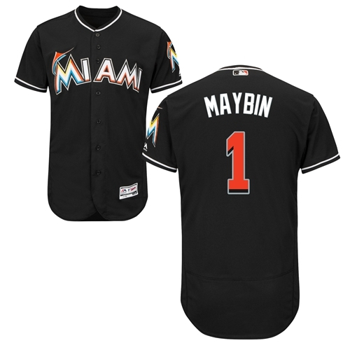 marlins #1 Cameron Maybin Black Flexbase Authentic Collection Stitched MLB Jersey