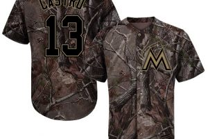 marlins #13 Starlin Castro Camo Realtree Collection Cool Base Stitched MLB Jersey