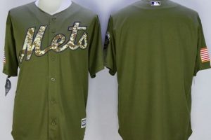 Mets Blank Green Camo New Cool Base Stitched MLB Jersey