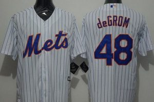 Mets #48 Jacob DeGrom White(Blue Strip) New Cool Base Stitched MLB Jersey