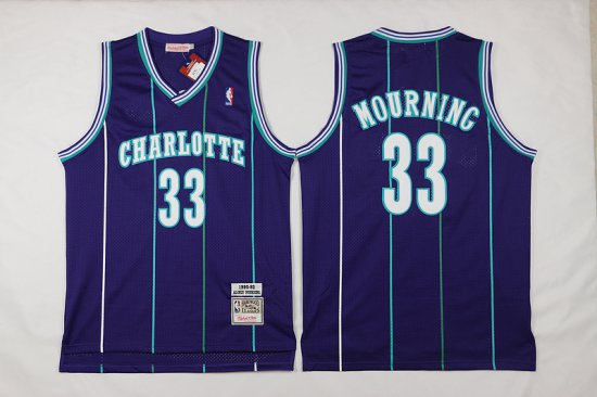 Mitchell And Ness Hornets #33 Alonzo Mourning Purple Throwback Stitched NBA Jersey