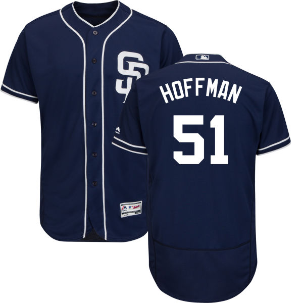 Padres #51 Trevor Hoffman Navy Blue Flexbase Authentic Collection Stitched MLB Jersey