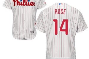 Phillies #14 Pete Rose White(Red Strip) Flexbase Authentic Collection Stitched MLB Jersey