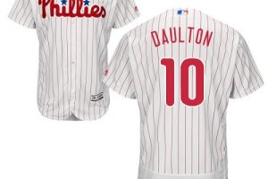 Phillies #10 Darren Daulton White(Red Strip) Flexbase Authentic Collection Stitched MLB Jersey