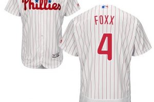 Phillies #4 Jimmie Foxx White(Red Strip) Flexbase Authentic Collection Stitched MLB Jersey