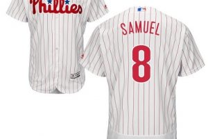 Phillies #8 Juan Samuel White(Red Strip) Flexbase Authentic Collection Stitched MLB Jersey