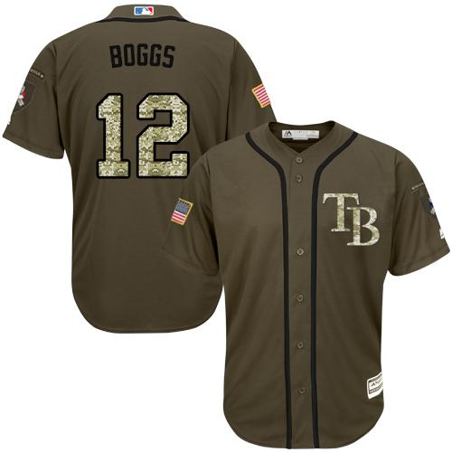 Rays #12 Wade Boggs Green Salute to Service Stitched MLB Jersey