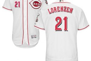 Reds #21 Michael Lorenzen White Flexbase Authentic Collection Stitched MLB Jersey