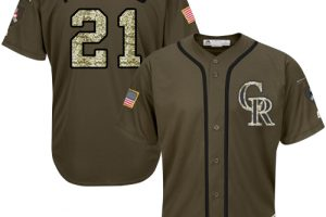 Rockies #21 Kyle Freeland Green Salute to Service Stitched MLB Jersey