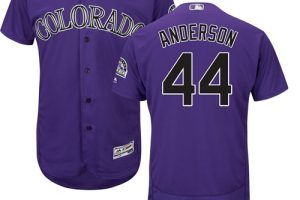Rockies #44 Tyler Anderson Purple Flexbase Authentic Collection Stitched MLB Jersey