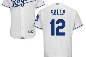 Royals #12 Jorge Soler White Flexbase Authentic Collection Stitched MLB Jersey