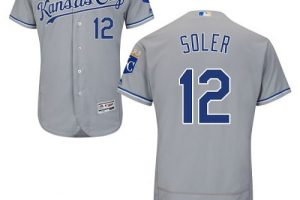 Royals #12 Jorge Soler Grey Flexbase Authentic Collection Stitched MLB Jersey