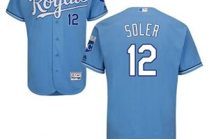 Royals #12 Jorge Soler Light Blue Flexbase Authentic Collection Stitched MLB Jersey