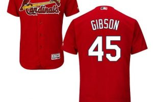 Cardinals #45 Bob Gibson Red Flexbase Authentic Collection Stitched MLB Jersey