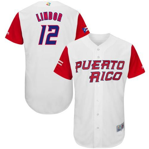 Team Puerto Rico #12 Francisco Lindor White 2017 World MLB Classic Authentic Stitched MLB Jersey
