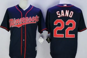 Twins #22 Miguel Sano Navy Blue Alternate Road New Cool Base Stitched MLB Jersey