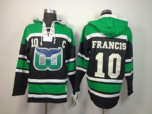 Whalers #10 Ron Francis Green/Black Sawyer Hooded Sweatshirt Embroidered NHL Jersey
