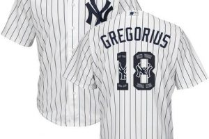 Yankees #18 Didi Gregorius White Strip Team Logo Fashion Stitched MLB Jersey